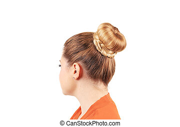 creative elegant hair bun - Beautiful woman with creative...