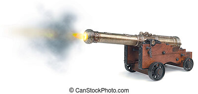 canon firing on white background