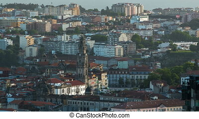 Rooftops of Porto's old town on a warm spring day timelapse before sunset, Porto, Portugal