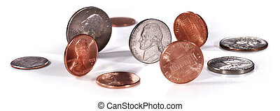 US coins on white - pennies, nickels, dimes, quarters on...