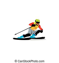Slalom. Vector Illustration. - Athlete on the downhill on a...