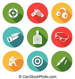 Shooting gallery Icons Set Vector Illustration - Isolated...