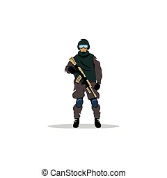 Commando man. Vector Illustration. - Police officer in...