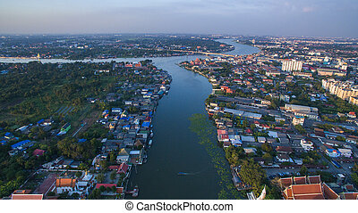 aerial view of klong lad kred important landmark of...