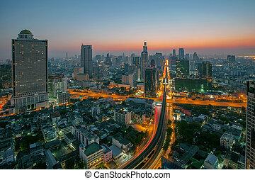 sky scrapper scene of bangkok thailand capital before the...