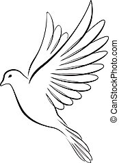 Line art-style flying dove - A romantic vector illustration...