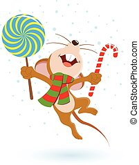 Jumping happy mouse