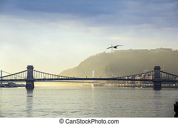 Budapest panorama, Hungary - Chain Bridge and Gellerts Hill...