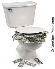 flush with cash - toilet full of money