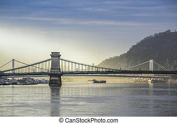 Budapest panorama, Hungary - Chain Bridge and Gellerts Hill...