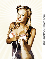 Fine Art Personal Fitness Pinup Girl Pulling Rope - Vintage...
