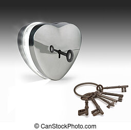 keys to the heart - key unlocking a metal heart
