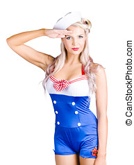 American pinup girl sailor saluting a yes sir - Isolated...