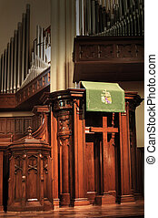 church pulpit - empty church pulpit