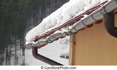 Snow is melting and drips from the roof. - The snow on the...