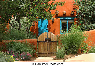 Santa Fe cottage - orange adobe Santa Fe cottage...