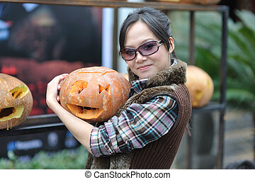 Women and pumpkin