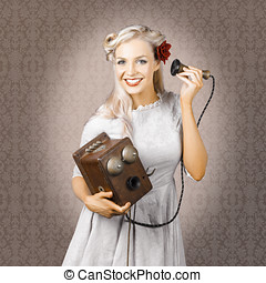 Smiling Vintage Woman Hearing Good News On Phone - Old...