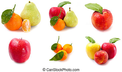 fruits with green leaves