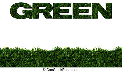 Environment friendly - The word green spelled in green grass...