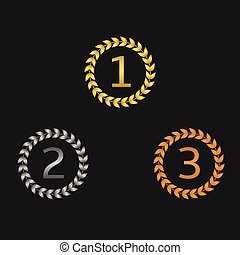 Laurel wreath awards First, second and third places Vector...