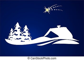 White Christmas, - composition with white Christmas trees...