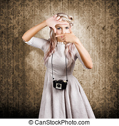 Grunge girl with retro film camera concept framing - Grunge...