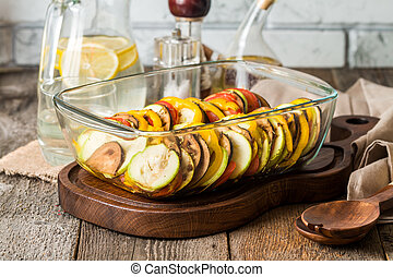Ratatouille - traditional French Provencal vegetable dish in...