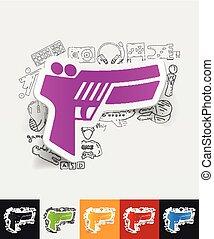 gun game paper sticker with hand drawn elements - hand drawn...
