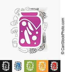 pickled vegetables paper sticker with hand drawn elements -...