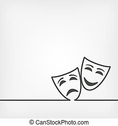 comedy and tragedy masks white background