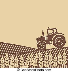 tractor in field. vector illustration - eps 8