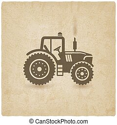 tractor silhouette old background. vector illustration - eps...