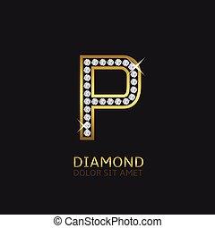 Golden Letter P