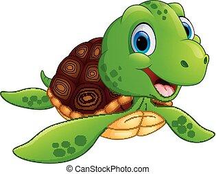 Happy sea turtle cartoon - vector illustration of Happy sea...