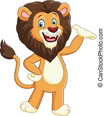 Happy carton lion posing - vector illustration of Happy...
