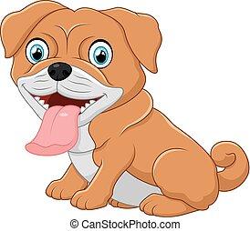 Cute bulldog cartoon - vector illustration of Cute bulldog...
