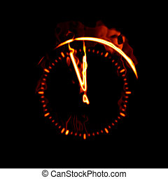 fire clock - An illustration of a big fire clock