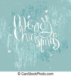Merry christmas phrase on frosty blue background