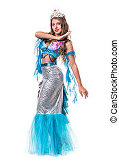 Carnival dancer girl dressed as a mermaid posing, isolated...