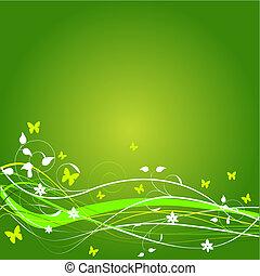 Floral Spring Background - Vector Grunge Floral Spring...