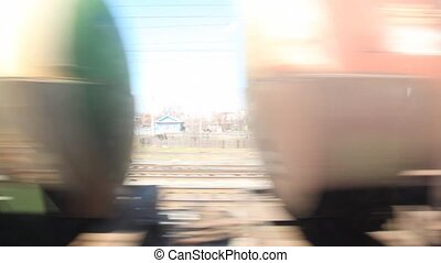 fast moving train with cisterns