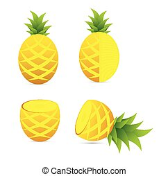 Pineapple vector design set