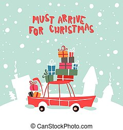 Christmass Gifts For Children On The Car Vector Illustration...