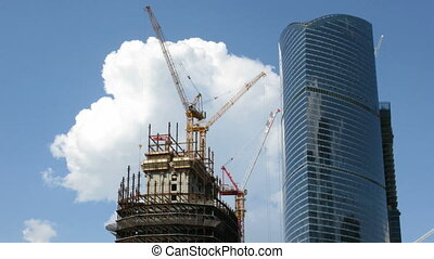 Building of modern skyscraper on sky background