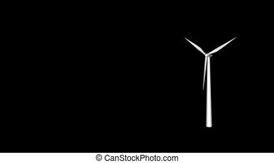 wind power - wind generator on black background - 3d...