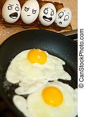 cocina, huevos,