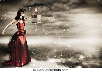 Fine Art Photo Of A Beautiful Winter Fashion Woman
