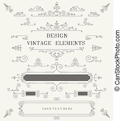 Vintage design template, borders, retro elements, Frame, for...