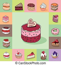 Template with different kinds of delishious desserts....